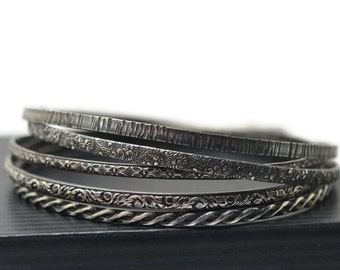 Set of 5 Layered Bangles, Oxidized Silver, Celtic Braid, Victorian Floral, Renaissance Style, Feather Scrollwork, Tree Bark Stacking Bangles