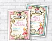 Alice in wonderland invitation, Birthday Invitation, Alice Mad tea party first birthday  1st 2nd 3rd 4th 5th 6th 7th 8th 9th 10th - card 820