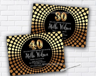 Gold Birthday invitation, gold Disco invite, any age Adults Birthday Party Invitation Design 30th 40th 50th 60th 70th 80th Elegant - card 36