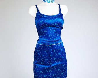 90's Blue Floral Daisy Silk Brocade Top and Matching Skirt Set // M - L or 7
