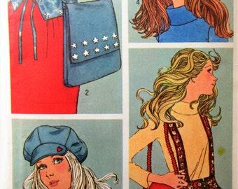 Vintage Simplicity 9644 Sewing Pattern, 1970s Sewing Pattern, Hats Pattern, Suspenders Pattern, Belt, Accessories, Hippie Style, Newsboy Hat