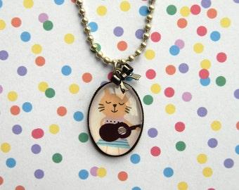 SALE! Cat Kitten on Guitar Charm Necklace pendant Kawaii Cute