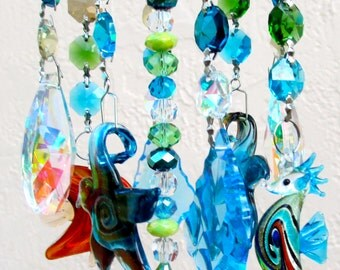 Crystal Wind Chime - Blue Chandelier Crystals Windchime - Sea Life