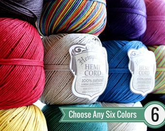 1mm Hemp Twine, Any 6 Colors, Macrame Cord, Choose Your Colors