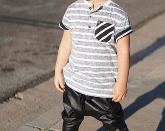 Baby Harem Pants / Black Faux Leather Drop Crotch Harem Pants / Adjustable Black Drawstring / Unisex / Handmade by GAG THREADS