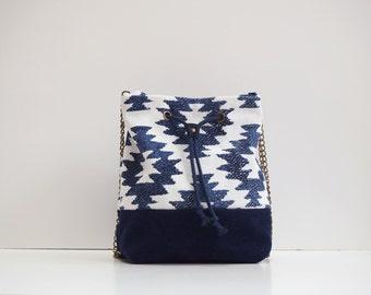 Dark blue Bucket bag Ikat white and indigo panel handmade leather shoulder chain ikat printed