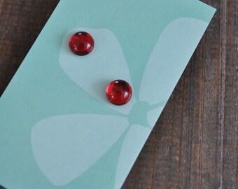 Clous d'oreilles cristal rouge argent Sterling - 925 silver red cristal stud earrings -