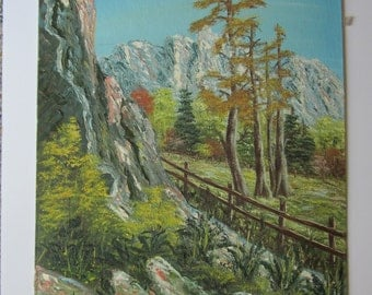 """Original Rugged Landscape - Signed Vintage Oil on Canvas Panel Painting  - Mountain Trees Fence Terrain - Unframed 16"""" x 20"""" Art"""