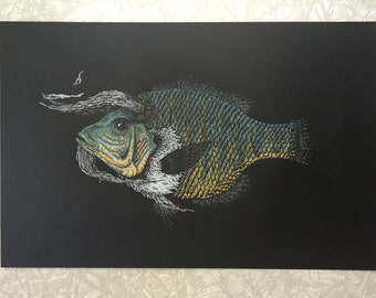 Magical black horned fish screen print