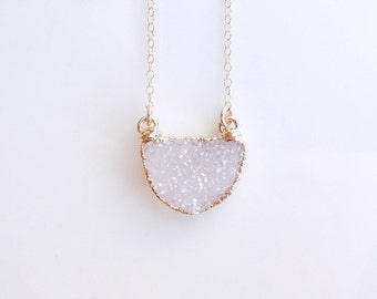 White Drusy Necklace in Gold - Druzy Jewelry - Half Circle - One of a Kind