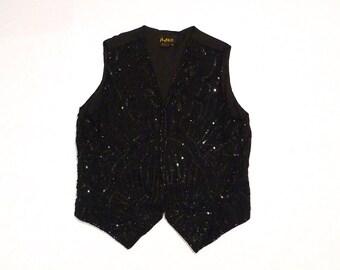 Mary McFadden Black Sequined Vest Vintage Designer Abstract Beaded Silk Victorian Goth Vest Size Medium Bohemian Gypsy India Floral Vest
