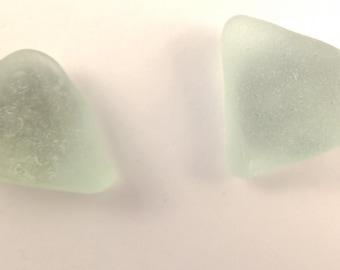 Triangle seafoam sea glass stud earrings