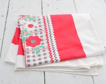 1960s Floral and Gingham Tablecloth