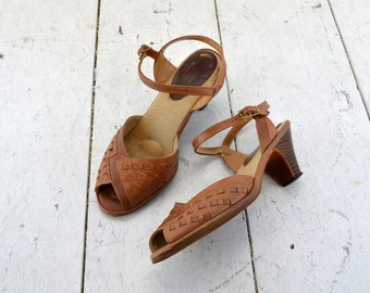 1970s Tan Revelations Peep Toe High Heel Sandals