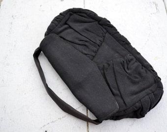 1940s Black Ruched Handbag