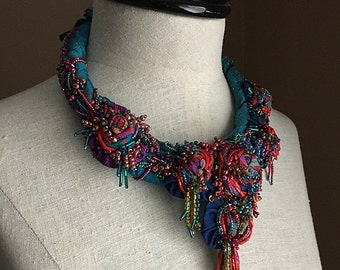 GYPSY TEAL Teal Red Beaded Textile Statement Necklace
