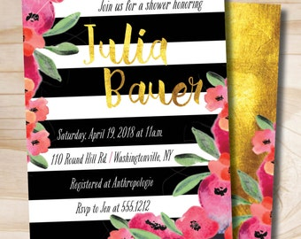 Black and White Stripe Gold Foil Watercolor Peony Shower Invitation, Bridal Shower, Baby Shower - Digital or Printed Invitation
