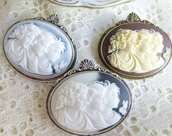 Vintage Style Thee Generations of Women Cameo Brooch pin in Antique Bronze or Antique Silver