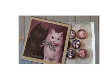 Cat pushpins, Victorian cats, Cat decor