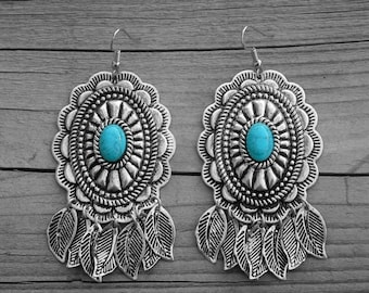 Turquoise Silver Concho Dream Catcher Feather Dangle Chandelier Earrings Native American Indian Southwestern Cowgirl Country Southern Girl