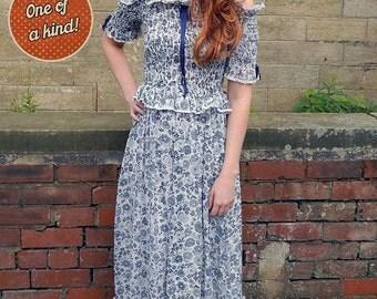 Original Vintage 60s Gina Fratini China Blue Maxi Dress UK Size 8/10