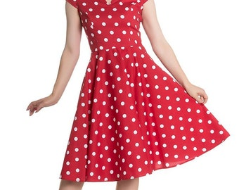 Brand New Gorgeous Retro 1950s Style Red Polka Dot Swing Dress Rockabilly Pin Up