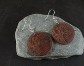 Round Wooden Dangle Earrings -  Tree Branch Engraved in Cocobolo Wood - natural eco friendly jewelry