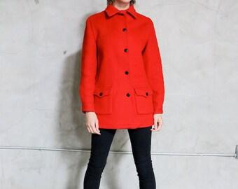 Hudson Bay Jacket, PeaCoat, 50s 60s red orange button front wool blanket coat, 4 point blanket, womens s/m