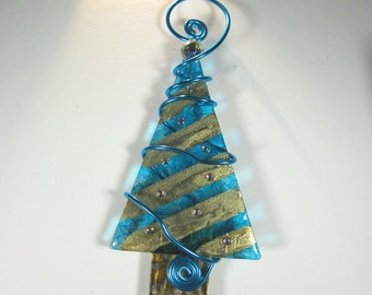 Turquoise and Gold Foil Christmas Tree with Rhinestone Ornaments