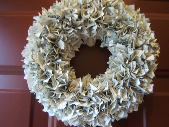 """Vintage Sheet Music Upcycled Paper Wreath 10"""""""