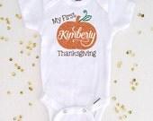 My First Thanksgiving Bodysuit, Girl Personalized Pumpkin Shirt, 1st Thanksgiving Shirt, Baby Shower Gift, Baby Girl Bodysuit (SH022)