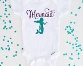 Mermaid Purple and Aqua Glitter Mermaid Bodysuit, Newborn Baby Girl Shirt, Baby Shower Gift, Birthday Shirt, Baby Girl Gift (SH009)