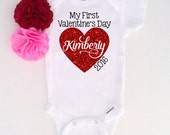 My First Valentines Day Shirt, Gerber® ONESIE® Brand Bodysuit, Girls Personalized Valentines Heart Shirt, 1st Valentines Shirt (SH027)