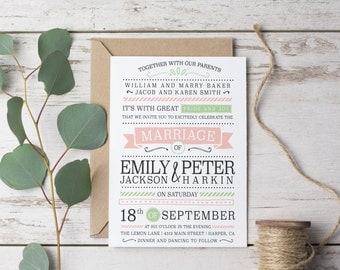 Printed Wedding Invitation Set - Suite, Vintage Modern Templates, Prints, pink green grey Wedding Invites (1066)