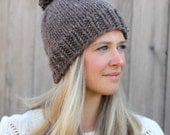 Belle Beanie Woman's Knitted Hat with Pom Pom in Barley Brown- Other colors available