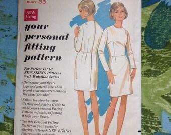 5 BUCKS Vintage Butterick 3000 Fitting Shell Sheath Dress  Sewing Pattern 33 Inch Bust