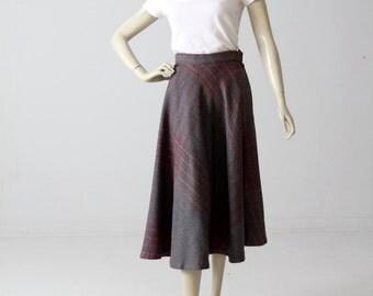 1970s plaid wool skirt, vintage a-line midi skirt