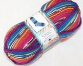 Self Striping Sock Yarn, Superwash Wool, Blue Magenta Purple Orange, Black White, Sale, Fingering Weight, Ice Yarn