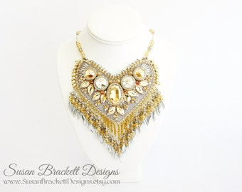 Beaded Bib Necklace Statement Jewelry Gold Crystal Bridal Necklaces Cocktail Jewellery Couture Runway Fashion Las Vegas Bead Embroidered