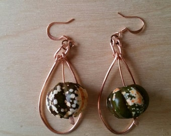 NEW PUMPKIN EARRINGS - in Exquisite Green Turquoise, Perfect for Fall