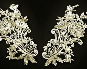 Vintage Floral Bouquet Ivory Lace Applique Pair