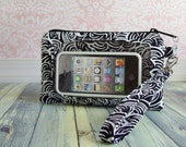 iphone wristlet, cell phone wristlet, smartphone wristlet case, Touch Screen Wristlet, black, white, swirl
