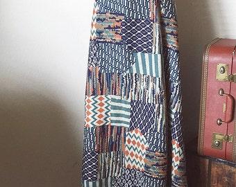 Vintage abstract tribal wrap skirt , 70's wrap skirt , maxi high waisted skirt, cotton wrap skirt, small medium
