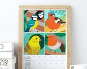Printable 2016 Calendar Print Birds Illustrations Instant Download