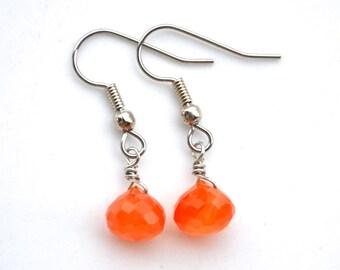 Tiny Carnelian Gemstone Teardrops . Earrings