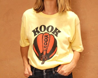 vintage KOOK hot air balloon extra long T-SHIRT yellow vintage 70s rare unique shirt