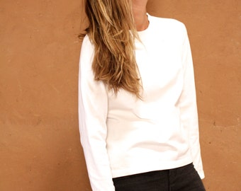 90s mock turtleneck WHITE athletic grunge blouse shirt