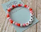 Beaded Stretch Name Bracelet-White Letter Beads-Any Name Word Phrase-Pink White Red-Valentines Day