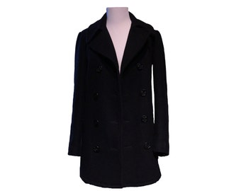 Vintage Women's Black Wool Peacoat with Anchor Buttons Size Small 4