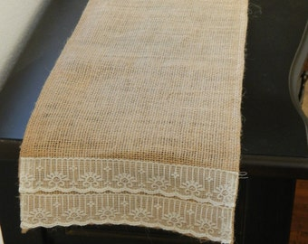 Burlap Table Runner with Lace, Custom Sizes, Large Orders Available